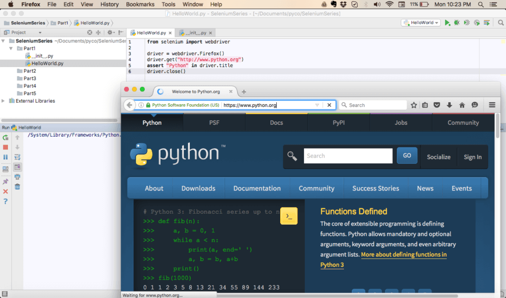 Python test running using Pycharm