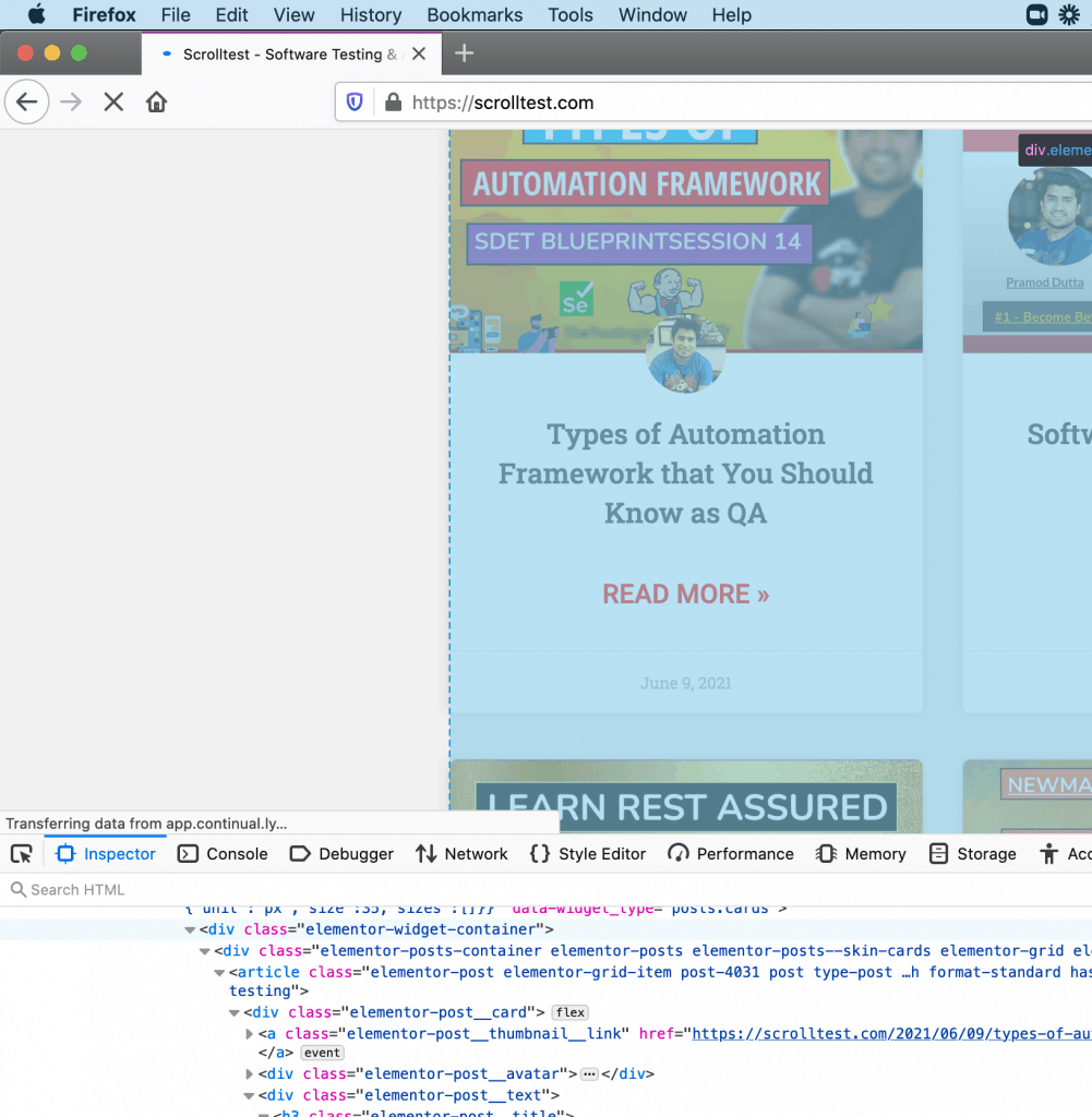 Inspect element firefox with dev tools debug